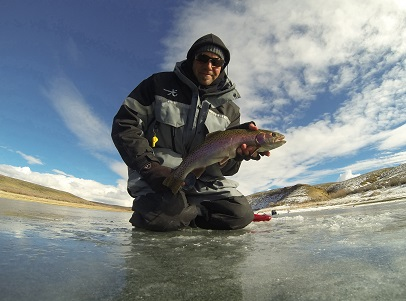 Rainbow Trout caught by Ryan Mosley ice fishing at Flaming Gorge